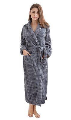 bd9dc52970 TONY   CANDICE Women s Fleece Bathrobe Long Shawl Collar Robe - Gray -  CY184EYHY5G