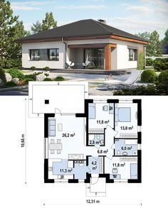 Building A House Ideas New Homes Reading Nooks A House Plans Layout Porches Small Modern House Plans, 3d House Plans, Beautiful House Plans, Family House Plans, Bedroom House Plans, Small House Design, Modern House Design, Modern Bungalow House, Bungalow House Plans