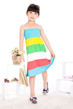 Aliexpress.com : Buy Summer Girls Beach Dress Kids Sleeveless Rainbow Stripes Bohemian Dress,Free Shipping K0386 from Reliable Little Girl Summer Dress suppliers on SICIBAY - Women's Clothing : Selling for Donating...