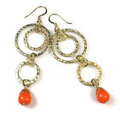Tangerine Earrings, Modern Dangle Earrings, Neon Jewelry