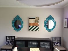 Ikea UNG DRILL mirrors that I spray painted and hung in the dining room