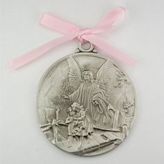 Guardian Angel Crib Medal Pink Ribbon Round 2 34 Great Gift great baptism christening gift keepsake gift >>> You can get additional details at the image link.-It is an affiliate link to Amazon.