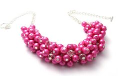 Pink Pearl Bridesmaid Chunky Cluster Necklace by crystaljemscouk