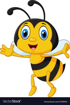 Funny bee flying isolated on white background vector image on VectorStock Cartoon Smile, Cartoon Monkey, Cartoon Bee, Cute Cartoon, Free Wallpaper Backgrounds, Flowery Wallpaper, Cartoon Angel Wings, Disney Canvas Art, Bee Pictures
