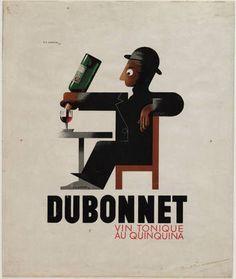 """A. M. Cassandre. Dubonnet, Vin Tonique au Quinquina. 1932 Técnica: Litografia de guache Dimensão: 11 x 18"""" (27.9 x 45.7 cm) Número MOMA: 277.1935"""