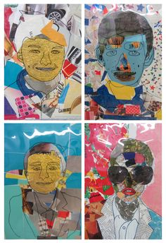 A simple but effective way to create portrait work. Pupils traced the outlines of their face onto theboardsusing carbon paper and a photograph of themselves. They then filled eachselectionwith...