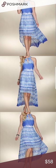 """White & Blue Geometric Hi-lo Dress Lightweight dress comfy and flirty hi low hem Size S: 48"""" long from point of shoulder to hem -100% polyester . Dresses High Low"""
