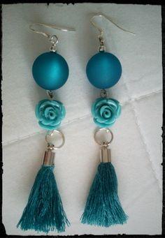"""**une Magnifique paires de boucles d'oreilles """"la vie en bleu"""" de 7cm : Boucles d'oreille par val-angel"""