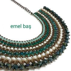 Netted necklace with crystals by Emel Bas from Turkey 🌟