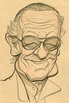 Stan Lee by Zack Wallenfang Cool Sketches, Art Drawings Sketches, Cartoon Drawings, Cartoon Art, Cool Drawings, Caricature Artist, Caricature Drawing, Cartoon Faces, Cartoon Styles
