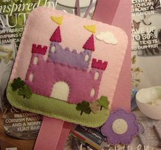 My Dream Castle wool felt hair clip holder pale pink by MayCrimson, $30.00