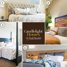 Need some serious bedspiration? Check out these 4 timeless headboard ideas to help you get started. For more details, visit our blog! #CandlelightHomes #utahhomes #utahbuilder #webuildbeautiful #headboards #beds #style #inspiration #home #utah