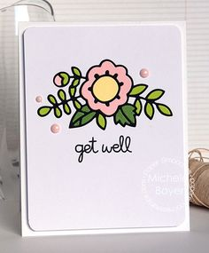 Get Well card by Michele Boyer for Paper Smooches - Adorable Array die, Delightful Greetings