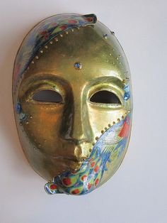 Paper Mache Mask with 2 Peacocks Venetian by CarolBeckDesigns, $60.00