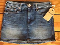 NWT $168 TRUE RELIGION Alexia Mini Skirt Denim Jean Skirt Size 25 WC261RE4 NEW #TrueReligion #Mini