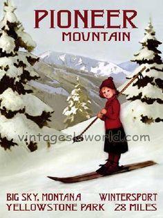 Pioneer Mountain Vintage Art Deco Ski Poster