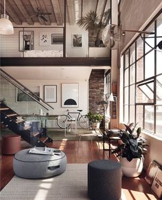 Dunkel, Innenarchitektur, Wohnen, Wohnzimmer, Wohnräume, Moderne Einrichtung,  Backstein Loft, Luxus Interieur, Luxus Loft