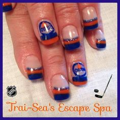 Edmonton Oilers Colors & Logo by TraiSeasEscape from Nail Art Gallery #nails #nailart #oilersnails #hockey #oilers
