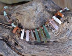 Gemstone Necklace Tribal Boho Necklace 295 by LKArtChic on Etsy