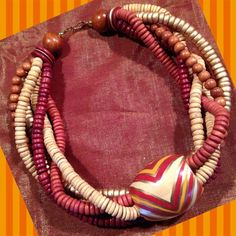 """BOHEMIAN CHIC Abstract Collar Strand Necklace Very cute Boho chic wooden strand collar necklace in excellent condition.  23"""" long. Jewelry Necklaces"""