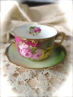 Vintage Floral Teacup and Saucer