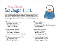 Treasure hunts are fun and competitive, and always a big hit! This one, themed perfectly for your baby shower, has a little extra... first you have to solve riddles, and with your answers in hand, search for the items.