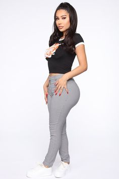 Life So Good Ringer Top - Black – Fashion Nova Leotard Fashion, Fashion Pants, Fashion Outfits, Curvy Women Fashion, Girl Fashion, Fashion Black, Fashion Fall, Fashion Trends, Sexy Jeans
