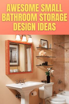Even though you have small bathroom, it doesn't mean that you need to cut down the number of your cosmetics or cleanser you have. With a little trick, you could have extra space. Some of them require a lot of efforts, while the others need simple fixing only. Which option is preferable for you? Small Bathroom Storage, Storage Design, Bathroom Medicine Cabinet, Cleanser, Decor Ideas, Cosmetics, Number, Space, Simple