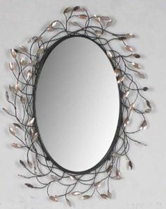 Amazon.com: Metal frame oval leaf patterned art déco wall mirror: Home & Kitchen