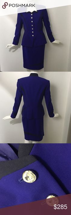 """Escada Couture Cobalt Blue Skirt Suit Size 36 (US 6)   This Escada two piece skirt is a wool cobalt blue and black combo. The black creates a very slimming look. The jacket has crystal button closures & with silk lining.  These are extremely high end pieces. Retail the jacket was $1875 and the skirt $675.        Measurements:  Jacket Shoulders: 16"""" Chest: 18"""" Waist: 16"""" Length: 24.5"""" Sleeve Length: 22.5""""  Skirt Waist: 14"""" Hips: 18"""" Length: 22.5""""  C2 ∞∞ I follow all Poshmark rules…"""