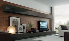 Exquisite living room wall unit system with smart features - Decoist