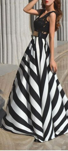 Lace & Stripe Maxi Dress //