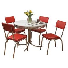 """Enjoy delicious home-cooked meals in vintage style with this retro dining essential.  Product: 4 Chairs and 1 tableConstruction Material: Engineered wood , PVC laminate, metal  vinyl and foamColor: Red and chromeDimensions: Table: 30'' H x 38'' Diameter  Chairs: 38"""" H x 18.5"""" W x 18.5"""" D each"""