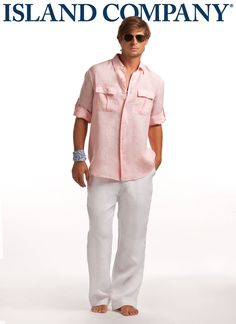 men's pilot shirt and linen pants...don't forget the sunglasses!