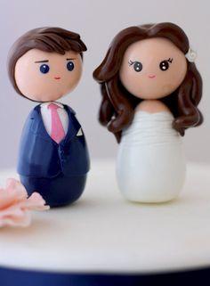 Kinda looks like Matt and I already !?! Personalized custom wedding cake topper kokeshi by Chikipita, $70.00