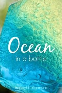 Ocean in a bottle science activity great for rainy day craft!