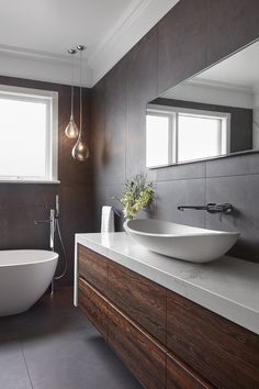 Bathroom Renovations Melbourne 2019 We love the pendants in our Essendon bathroom to create mood. The post Bathroom Renovations Melbourne 2019 appeared first on Bathroom Diy. Bathroom Sink Cabinets, Small Bathroom Sinks, Bathroom Renos, Grey Bathrooms, Bathroom Layout, Modern Bathroom Design, Bathroom Interior Design, Beautiful Bathrooms, Bathroom Tiling