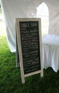 Tent reception chalkboard menu. | Alexander's Contemporary Cuisine & Fine Spirits | Fish Creek, Door County