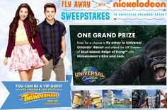 Win a trip for 4 to to Universal Orlando Resort in Orlando, FL, and more from Fly Away With Nick Sweepstakes.                                 #Nickelodeon, #Sweepstakes, #Trip