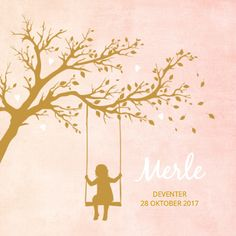 Vintage silhouet geboortekaartje voor een meisje met schommel en boom.  Design: BlijKaartje  Te vinden op: www.kaartje2go.nl
