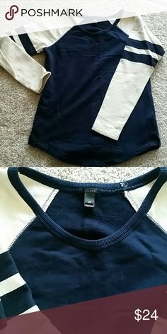 J. Crew top J. Crew long sleeve top, creme & navy blue, soft cotton, clean, no flaws J. Crew Tops Tees - Long Sleeve