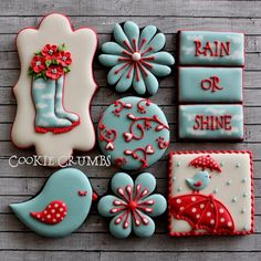 rainy days cookies by mint_lemonade Bird Cookies, Fancy Cookies, Flower Cookies, Valentine Cookies, Cute Cookies, Easter Cookies, Cupcake Cookies, Cookies Light, Cookie Bouquet
