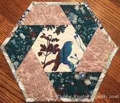 Twisted Hexagon Mug Rug. Tutorial on making this easy block! http://sewinlovewithfabric.blogspot.com/2016/10/mug-rug-blog-hop-day-2.html