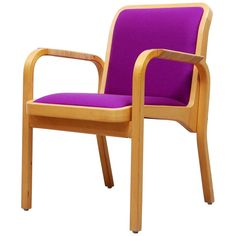 View this item and discover similar for sale at - Armchair model 45 designed by Alvar Aalto in 1947 and made by Artek. This chair has been reupholstered with new mauve fabric, armrests are tightly wound Alvar Aalto, Rattan, Architecture Design, Accent Chairs, Armchair, Furniture, Vintage, Studio, Home Decor