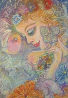 #pastel #woman #painting #flowers