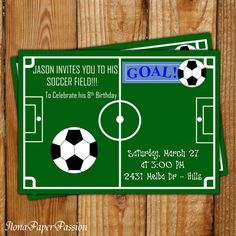 Soccer Invitation Birthday By IlonaPaperPassion 1000 Theme Parties Party