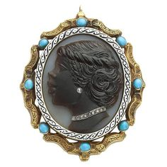 Hard Stone Cameo Turquoise Diamond Gold Pendant | From a unique collection of vintage pendant necklaces at https://www.1stdibs.com/jewelry/necklaces/pendant-necklaces/