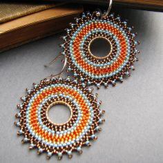 Light blue, orange and bronce earrings.