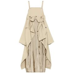Maison Margiela Cotton Trench-Coat Dress (19,135 CNY) ❤ liked on Polyvore featuring dresses, beige, brown cotton dress, beige dress, maison margiela dress, beige cotton dress and cotton day dresses