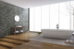 These Canyon black stone look #Italian #feature #tiles can be used to change the whole atmosphere of your #bathroom.